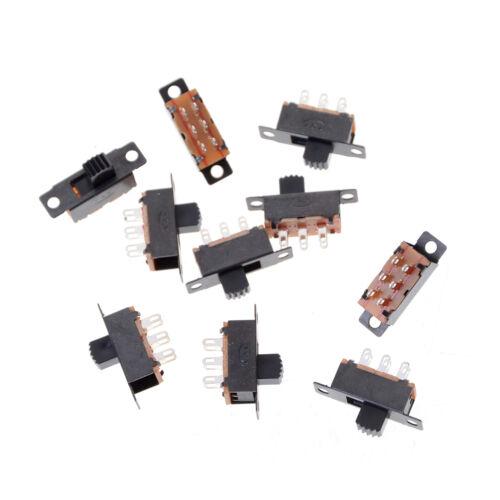 10x 2 Posición Interruptor DPDT 2P2T interruptor deslizante vertical de montaje del panel 6 Pin 0.5A 50V Fu