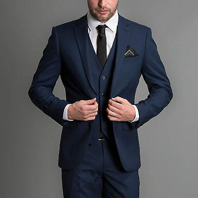 Fine Men Blue 3 Piece Suits Designer Wedding Grooms Dinner Suits Perfect In Workmanship jacket+vest+pants
