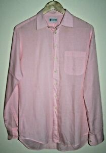 Austin Reed Fashion Designer Men S Classic Shirt Check Pink Cotton Blend Size L Ebay