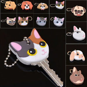 Cute-Puppy-Pug-Cat-Rabbit-Key-Cover-Cap-Keychain-Key-Ring-PVC-Key-Case-Unisex