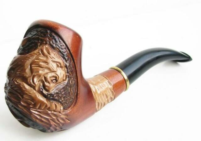 HANDMADE WOODEN NEW TOBACCO SMOKING PIPE HANDCRAFTED UNIQUE  * Tiger on Tree *