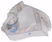 New Gucci 327374 Pearl Cream Beige GG Guccissima Charm Silk Twill Neck Scarf