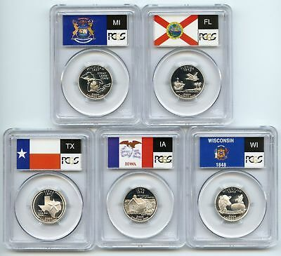 RI NC NY VT KY Proof Set PCGS PR70 DCAM Quarter 2001 SILVER State Flag 5-Coin
