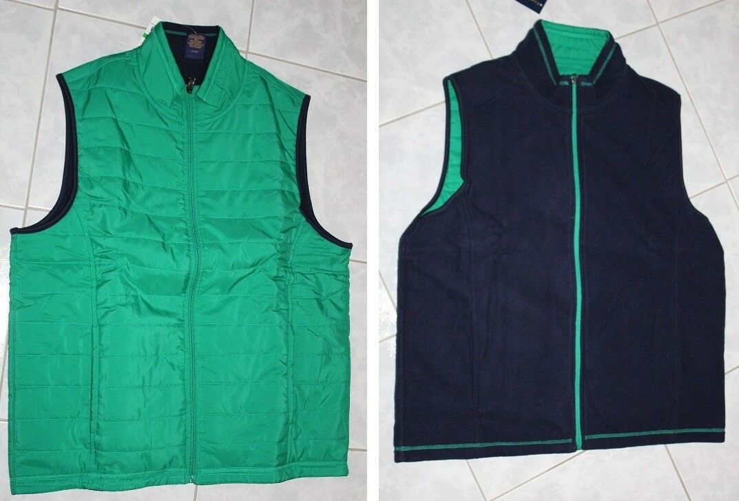Club Room Mens Reversible Fleece Woven Vest (CAN WEAR 2 SIDES)