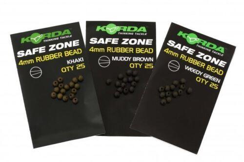 Korda Sicher Zone Gummi Perlen 25pcs Alle Farben//Größen Karpfenangeln K4rb//