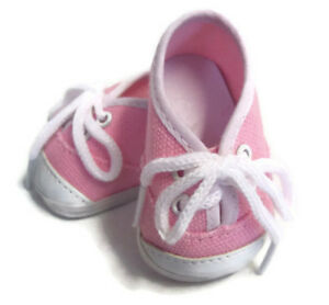 e2bf96cfdff4 Pink Canvas Tennis Shoes Sneakers for 18 inch American Girl Doll ...