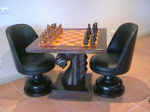 Image Is Loading Chess Table Hand Carved Horses Head With 2