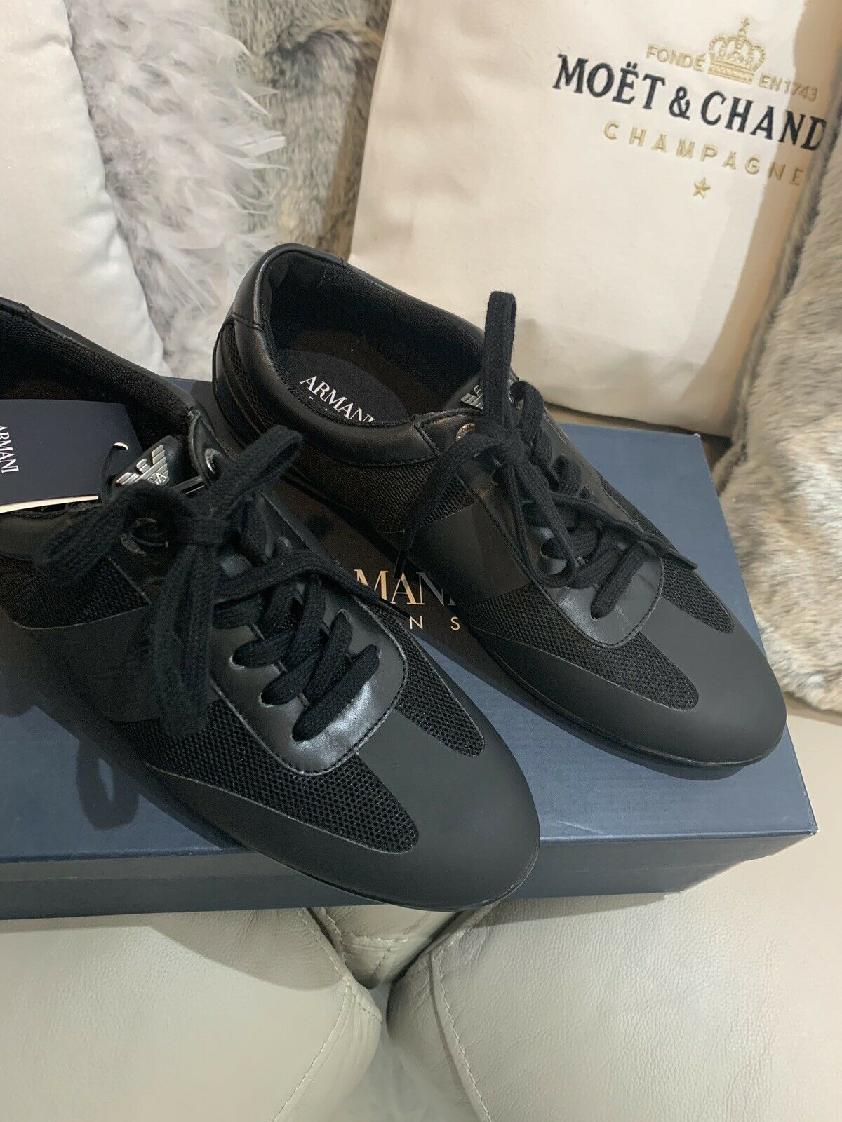 Armani Jeans Black Ladies Trainers 40 UK 6.5 EU 7 US Leather Rubber Front NEW