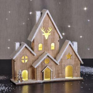Ebay Weihnachtsdeko.Led Holzhaus Beleuchtet Tischdeko Mit 6 Lichtern