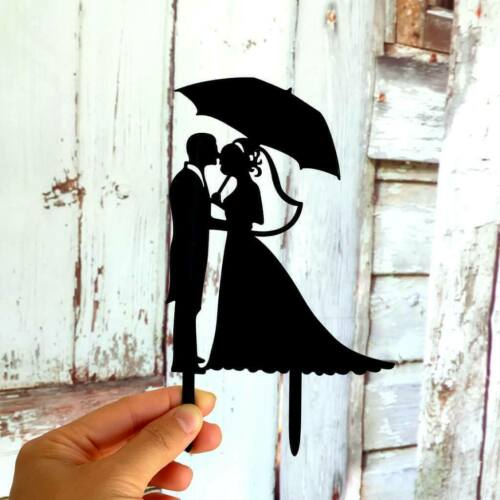 Silhouette Bride and Groom Holding Umbrella Wedding Cake Topper Bridal Decor