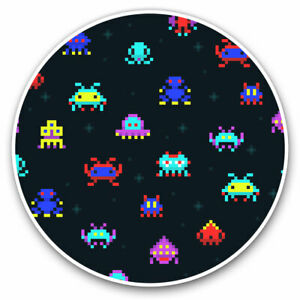 2-x-Vinyl-Stickers-7-5cm-Retro-Space-Game-Arcade-Gamer-Cool-Gift-15963