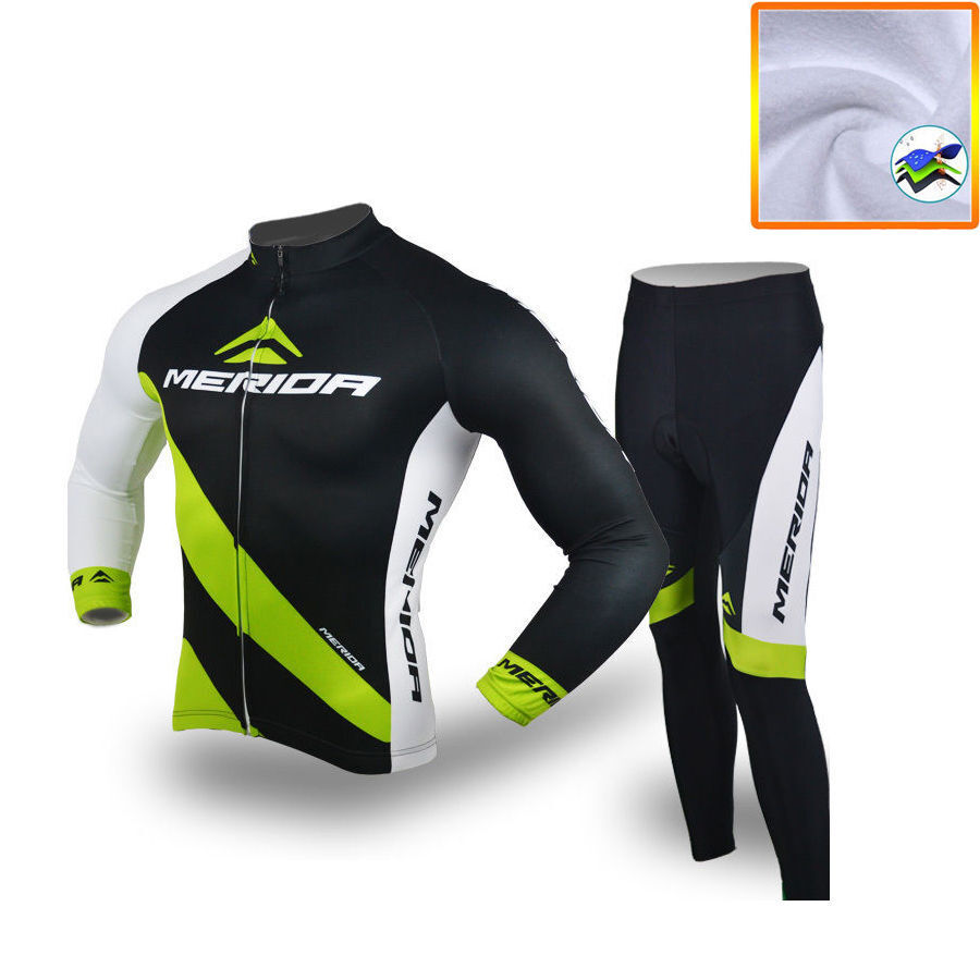 Merida Fleece Cycling Long Kit Men's Thermal  Winter Bicycle Jersey and Pants Set  presenting all the latest high street fashion