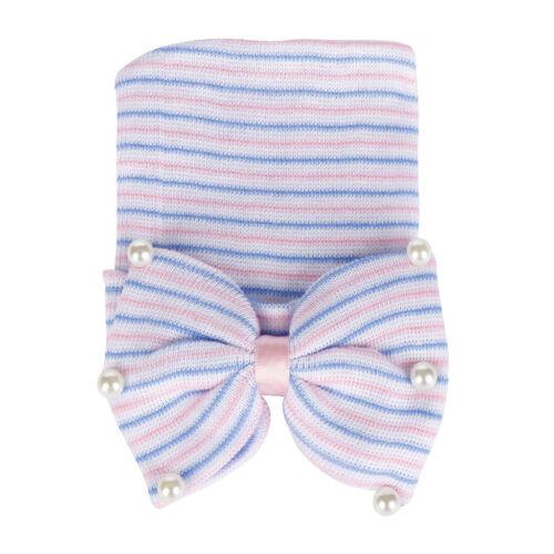 Newborn Infant Baby Girls Bearl Beading Bow-Knot Knitted Hemming Beanie Hat Cap
