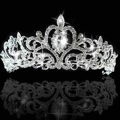 Bridal Princess Crystal Hair Tiara Wedding Crown Veil Headband lady girl one hs