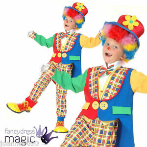 New-Childs-Boy-039-s-Boys-Deluxe-Clown-Fancy-Dress-Costume-Sizes-S-M-L-With-Top-Hat