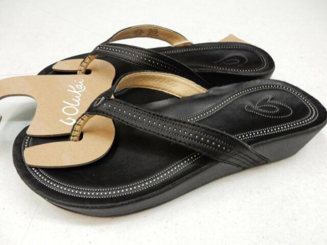 1d55dedb906b6d OluKai Women s Ola Flip Flop 8 M Black Leather for sale online