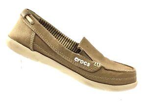 c08f5b011d3 CROCS Women s 14391 Walu Khaki Canvas Loafers Boat Shoes Slip On ...