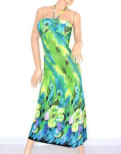 Abito-LUNGO-vestito-donna-fantasia-FLOREALE-verde-celeste-ELEGANTE-da-sera-95C