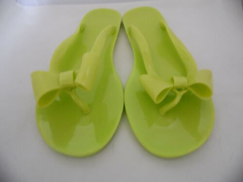 NEW LADIES LIME GREEN JELLY FLIP FLOPS TOE POST BOW DETAIL SIZE EU 37 OR 39