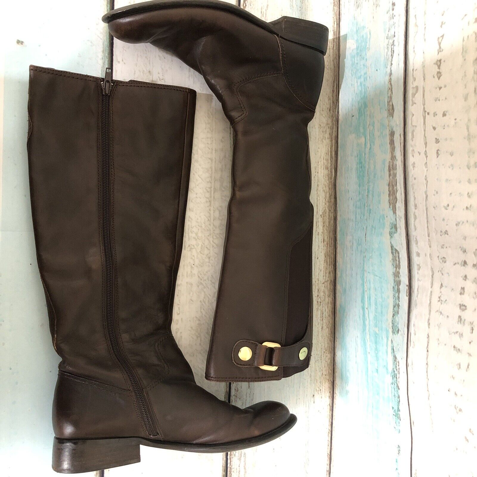 Franco Sarto Riding Boots Brown Leather Zip Knee High Style L-Ranger Size 7m