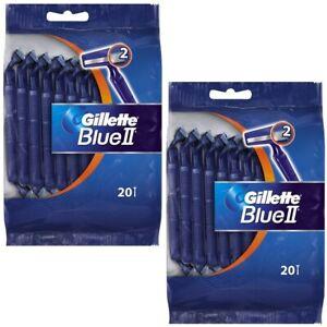 40 Razors Gillette Blue II Men's 2 Blade Disposable Razor (Total 2 Packs)