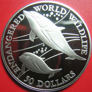 1990-COOK-ISLANDS-50-SILVER-PROOF-HEAVISIDE-039-S-DOLPHIN-ENDANGERED-WILDLIFE-RARE