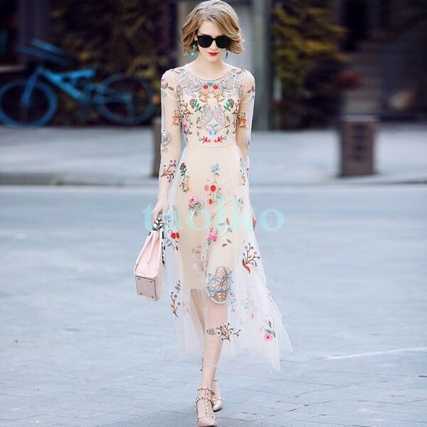2018 runway Embroidered Mesh Womens Spring Modern Printed Floral Party dress Sz
