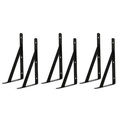 3 Paar Starke Metall L Form Schwarz Wandregal Halterung Metallplanke Rack