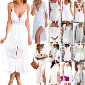 Womens-White-Holiday-Maxi-Long-Dress-Party-Boho-Summer-Beach-Mini-Dress-Sundress