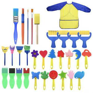 Kids-Art-amp-Craft-31pcs-Spugna-Vernice-Pittura-Pennelli-pittura-per-bambini-per-bambini-piccoli
