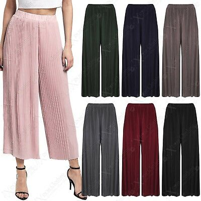 Angemessen New Ladies Pleated 3/4 Culottes Womens Trousers Flared Crop Trousers Plain Pants