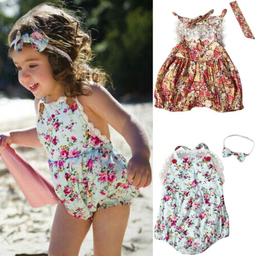 Newborn Baby Girl Floral Romper Halter Jumpsuit Playsuit+Headband Outfit Clothes