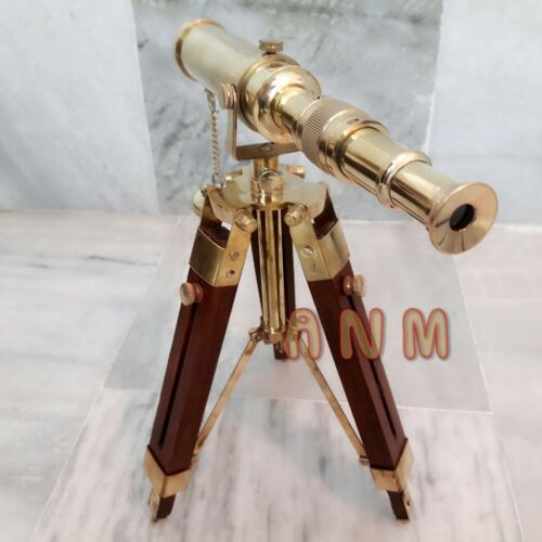 Antique Nautical Brass Telescope With Tripod Stand Vintage Marine