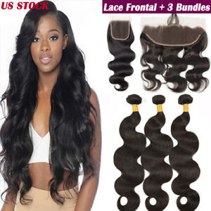 13x4 Pre Plucked Lace Frontal Closure with 3 Bundles Virgin Human ... 8096b00508