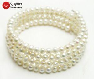 """4-5 Mm Rond Blanc Naturel Perle Fil D'acier Wrap Bracelet For Women 28"""" Bra441-afficher Le Titre D'origine Les Catalogues Seront EnvoyéS Sur Demande"""