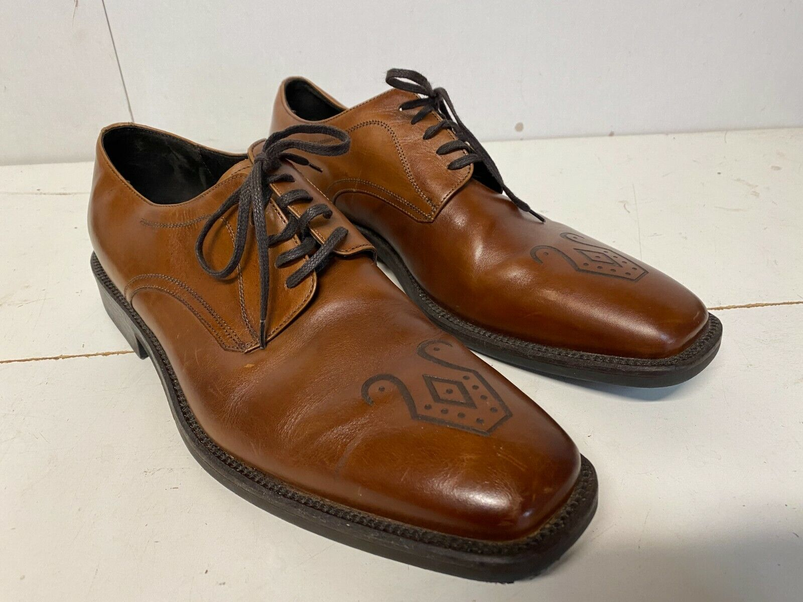 Johnston & Murphy Mens Sz 10 Brown Made In Italy Oxfords Dress Shoes B17