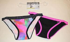 Bonds-Ladies-Hipster-String-Bikini-Brief-2-Pack-Print-Plain-01K-Size-14-New