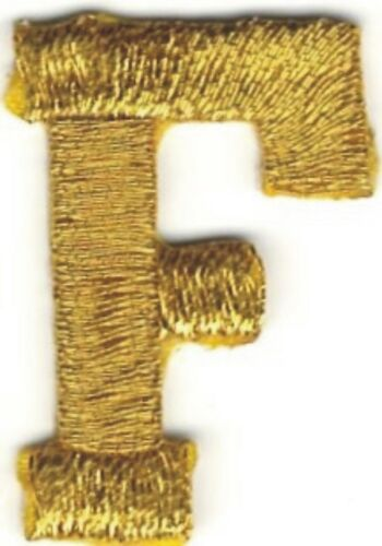 """1/"""" Tall Bright Metallic Gold Monogram Block Letter F Embroidery Patch"""