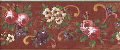 Distressed Floral with Scrolls Wallpaper Border on Red Background    AZ5137B