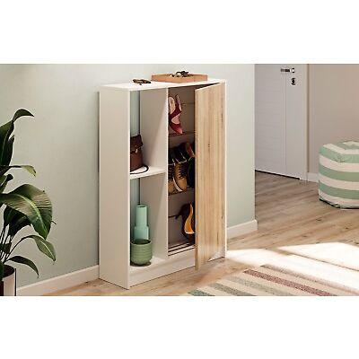 Zapatero recibidor blanco y cambrian con puerta NUEVO y economico 110x80x25 cm