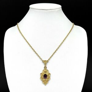 Vintage 1928 Purple Crystal Rhinestone Pendant Gold Tone Chain Necklace Flower