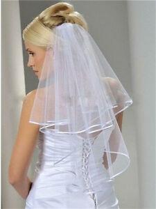 New-Ivory-2t-Wedding-Bridal-elbow-Satin-Edge-Veil-with-comb