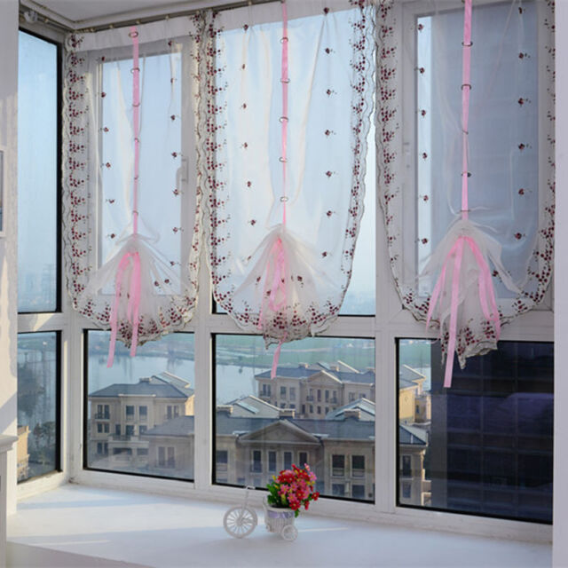 Embroidered Flower Tulle Window Screens Door Balcony Curtain Sheer Scarf GFY