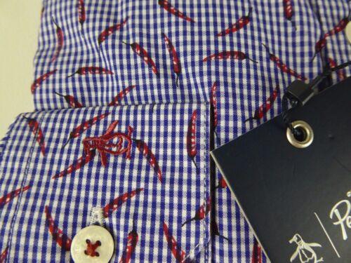 Original Penguin Heritage Slim Fit Gingham Plaid Chili Pepper Dress Shirt NWT 79