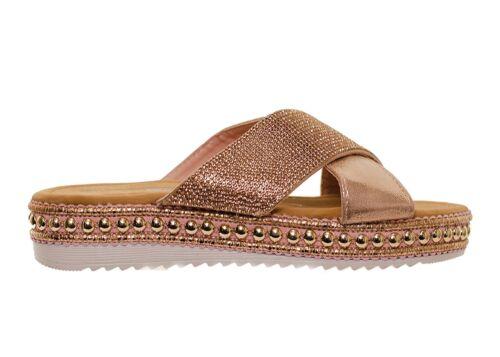 Cross Over Diamante Stud Detail Flat Slider Sandals Champagne