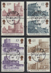 2-x-GB-1997-Castles-Stamps-Enschede-to-5-4-Values-Very-Fine-Used-UK-Seller