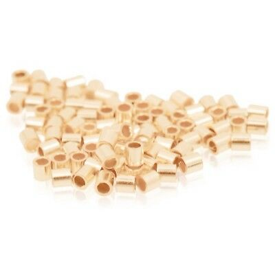 1.1mm X 1.5mm X 0.8mm 18ct Red Rose Gold Plated Crimp Tubes Beading & Pearl