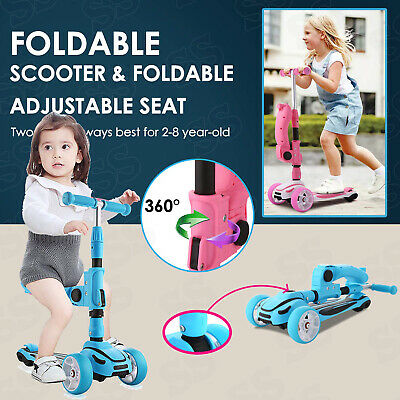 Scooters for Kids 3-in-1 3 Wheels Toddlers Mini Kick Scooter w// Seat /& Flash LED