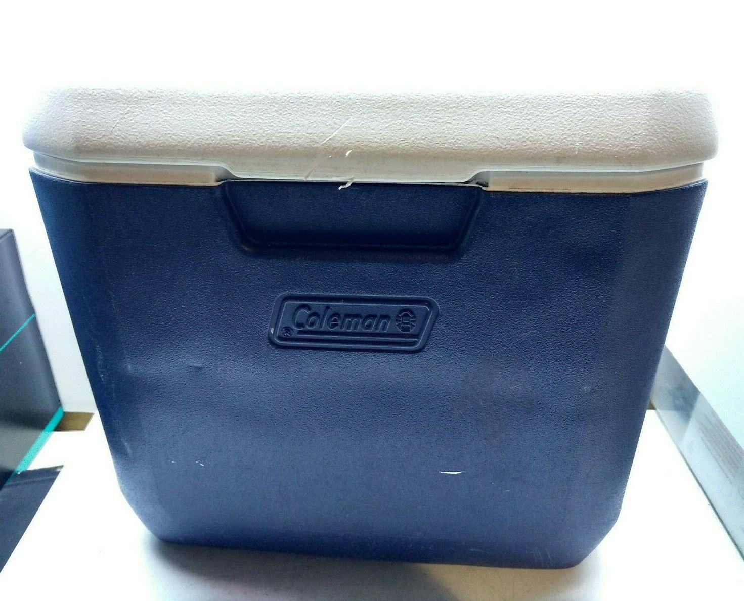 Coleman Vintage Picnic Lunch Cooler Can Ice Chest Box Snap Slotted Top Blau USA