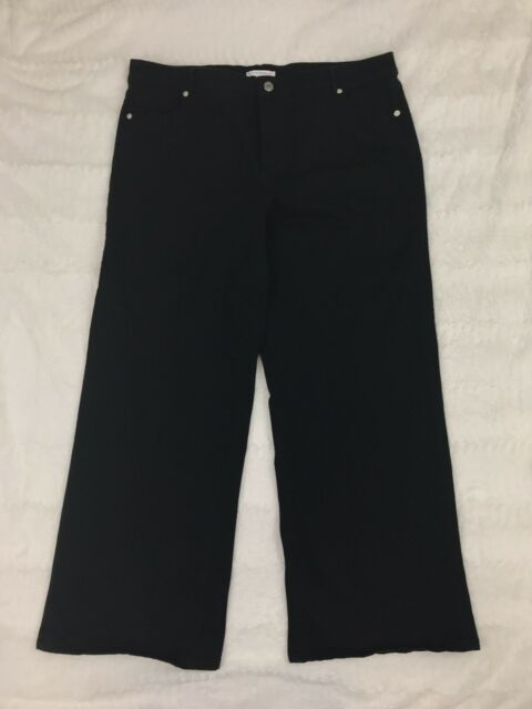 Isaac Mizrahi Live Womens Jeans Siz 18W Black Wide Leg Denim Pants